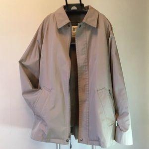 London Fog Raincoat 44 REG Beige Faux Fur Lined